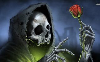 Red Rose Grim Reaper Dark Wallpaper