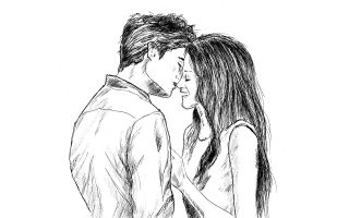 Romantic Couple Love Drawing HD Wallpaper